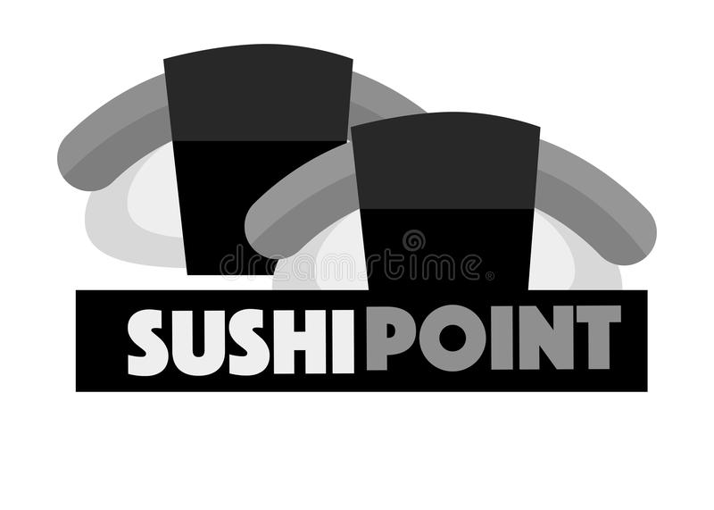 Sushi point menu logo design vector illustration isolated on white. stock illustration