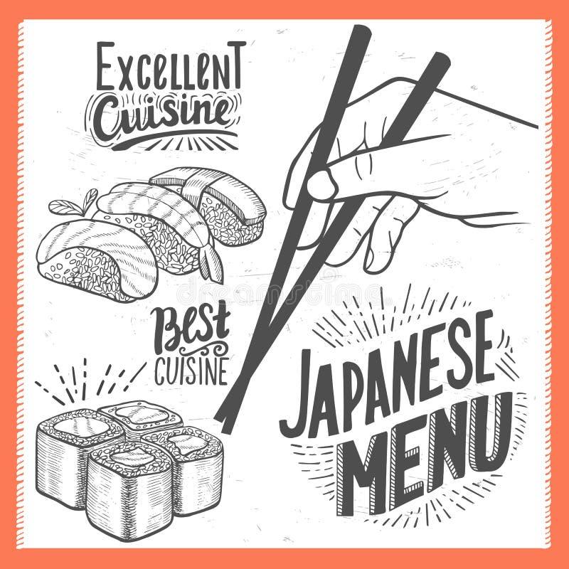 Sushi poster for restaurant. vector illustration
