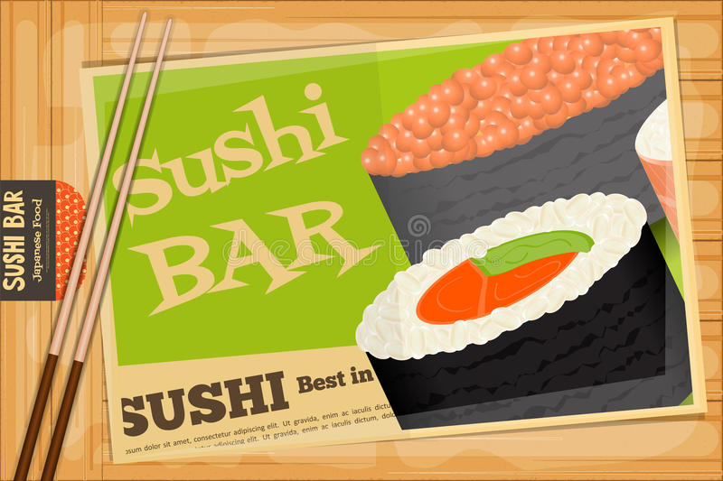 Sushi. Poster on Wooden Background. Retro  Cover Menu with Chopsticks. Vector Illustration stock illustration