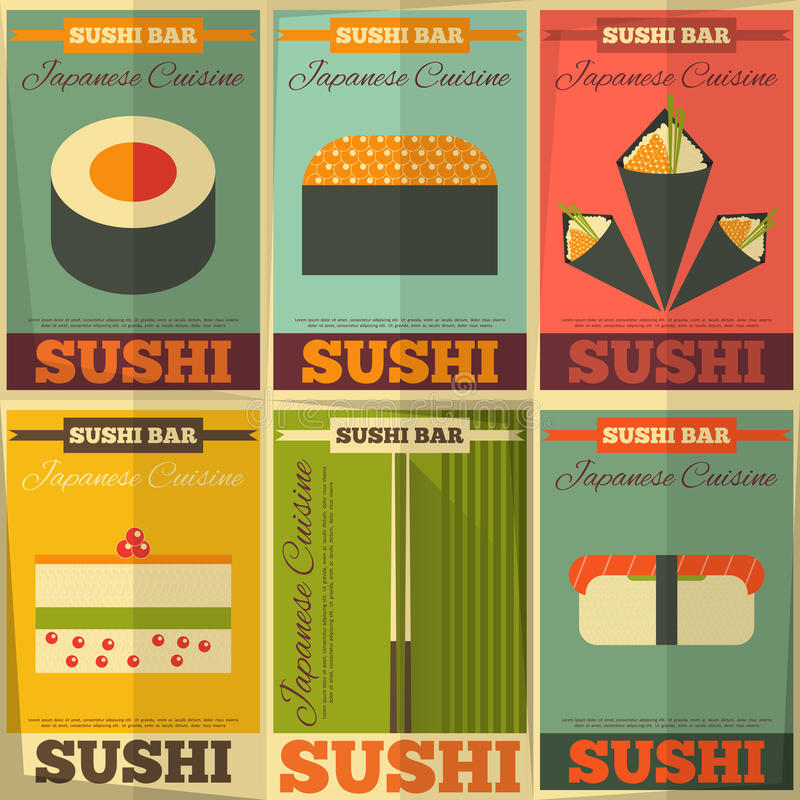 Sushi. Posters Set in Flat Design. Illustration vector illustration