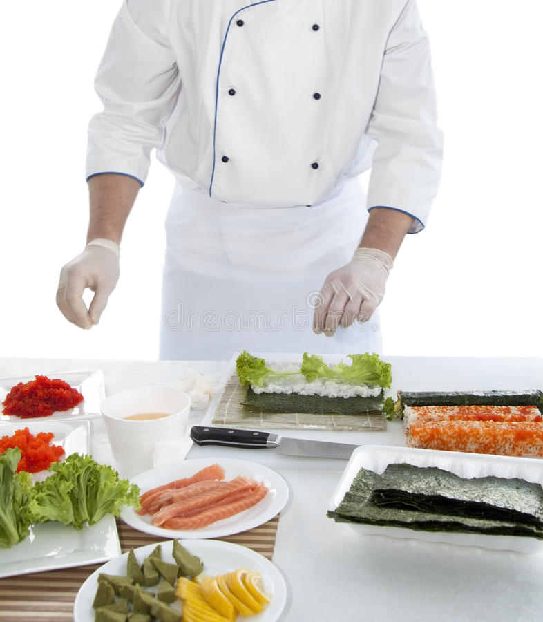 Download Sushi preparation stock photo. Image of roll, cook, knife - 15576700