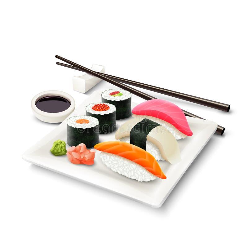Sushi Realistic Set royalty free illustration