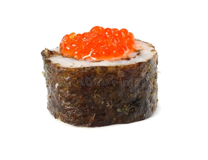 Sushi with red caviar isolated on white background royalty free stock photos