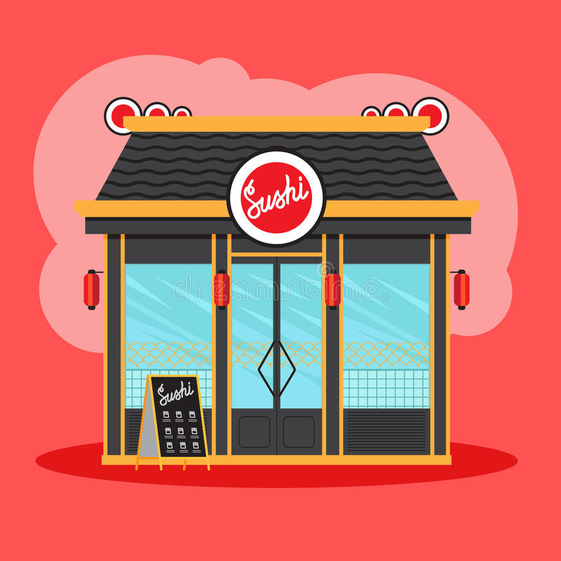 Sushi restaurant front view. On red background. Vector illustration royalty free illustration