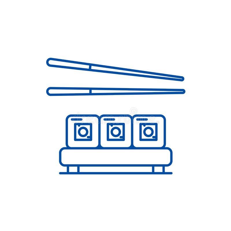 Sushi restaurant line icon concept. Sushi restaurant flat  vector symbol, sign, outline illustration. stock illustration