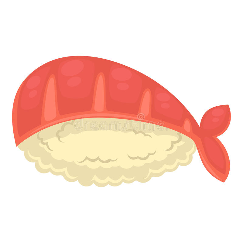 Sushi with rice and royal shrimp isolated illustration. Tasty sushi with big peeled royal shrimp that lays over rice ball isolated on white background. Exotic royalty free illustration