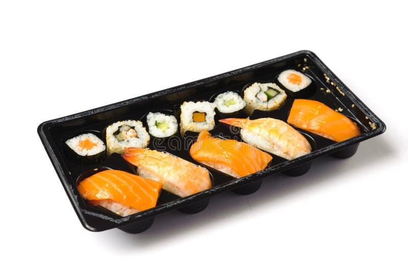 Sushi roll. Traditional Japanese food Sushi. Closeup japanese sushi on a bamboo napkin. Sushi collection stock photos