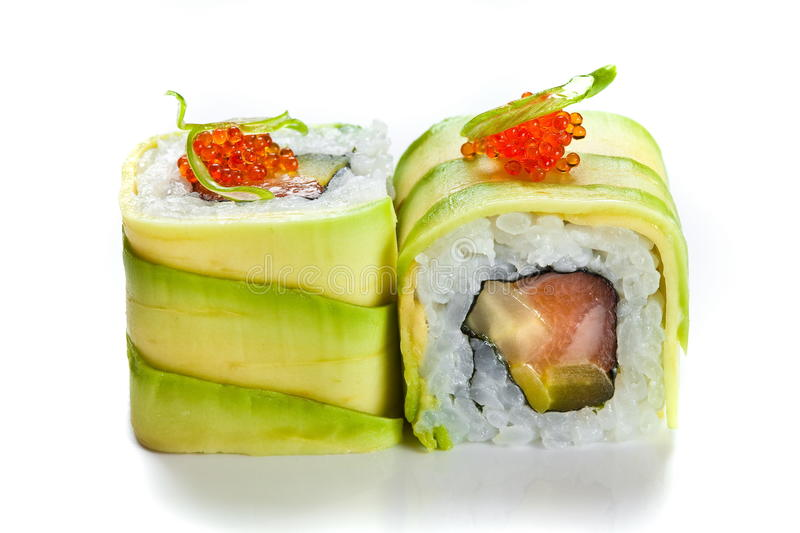 Sushi roll with avocado stock image