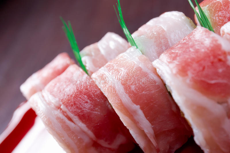 Sushi Roll with Bacon royalty free stock image