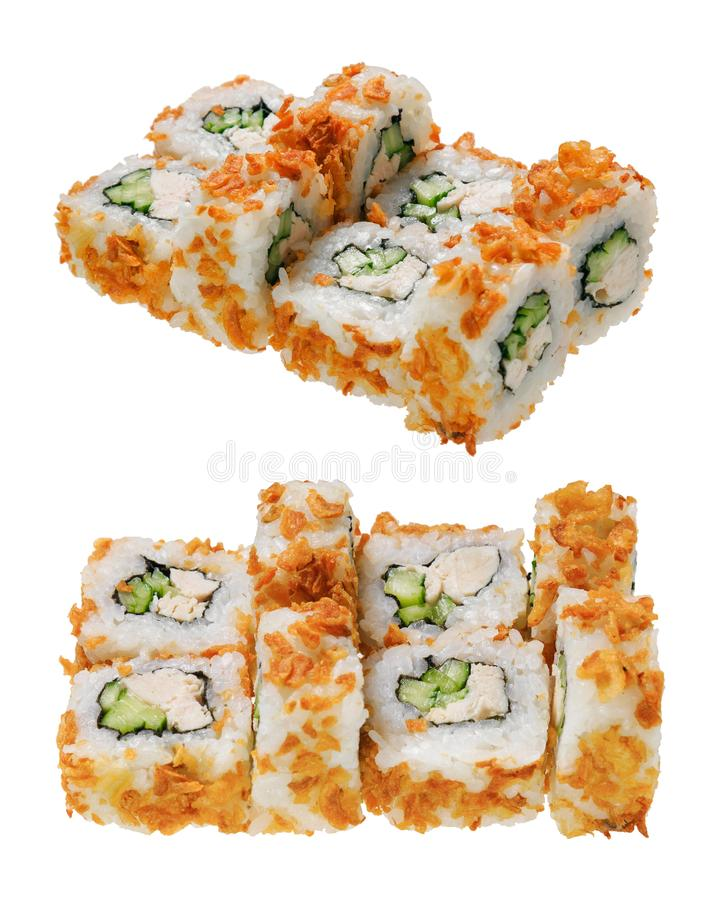Sushi roll with chicken fillet, cucumber and breading. Isolated on white background. Asian cuisine royalty free stock photos