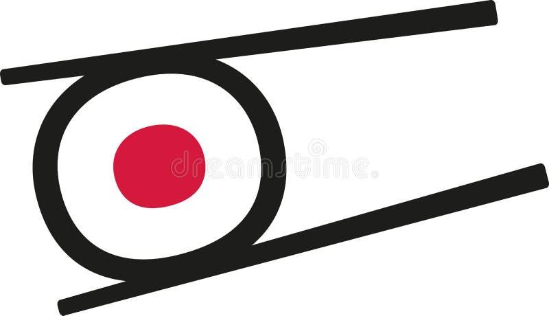 Sushi roll between chopstick stock illustration