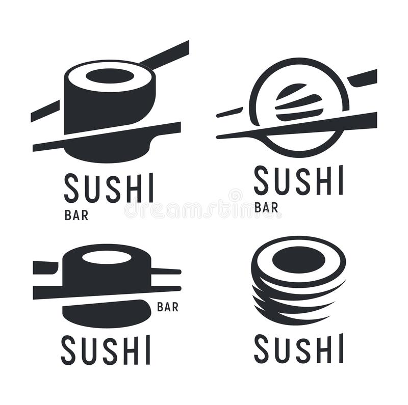 Sushi and roll with chopsticks on white background, black vector logo template. Monochrome japanese cuisine icons set. vector illustration