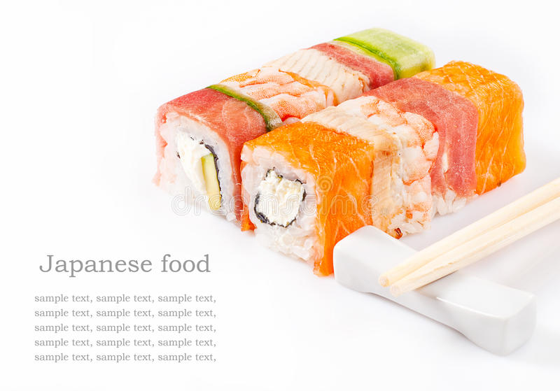 Sushi roll collection. With royal shrimp, bacon, cucumber and salmon royalty free stock image