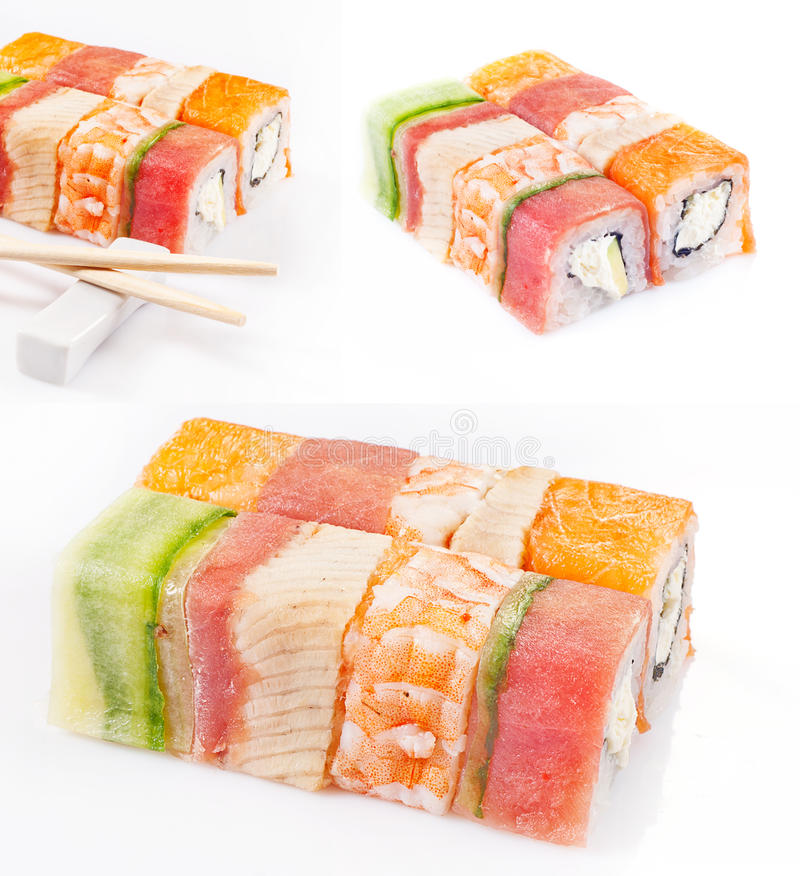 Sushi roll collection. With royal shrimp, bacon, cucumber and salmon stock photography