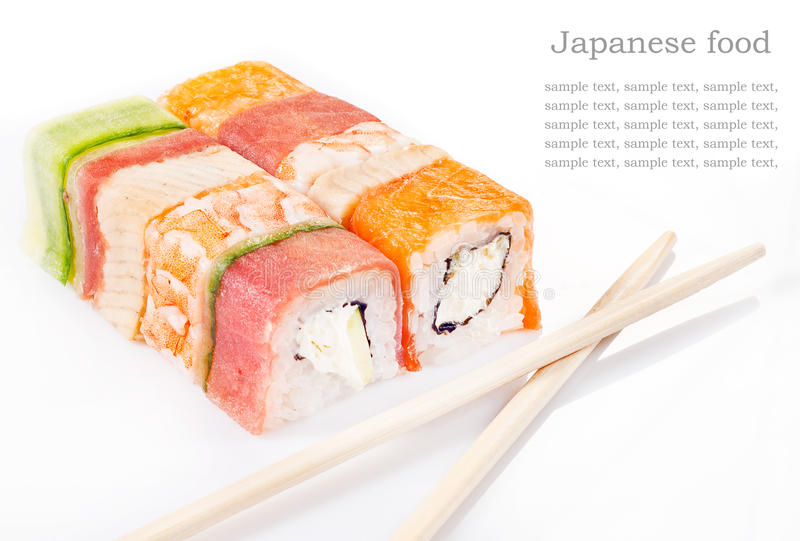Sushi roll collection. With royal shrimp, bacon, cucumber and salmon royalty free stock photo