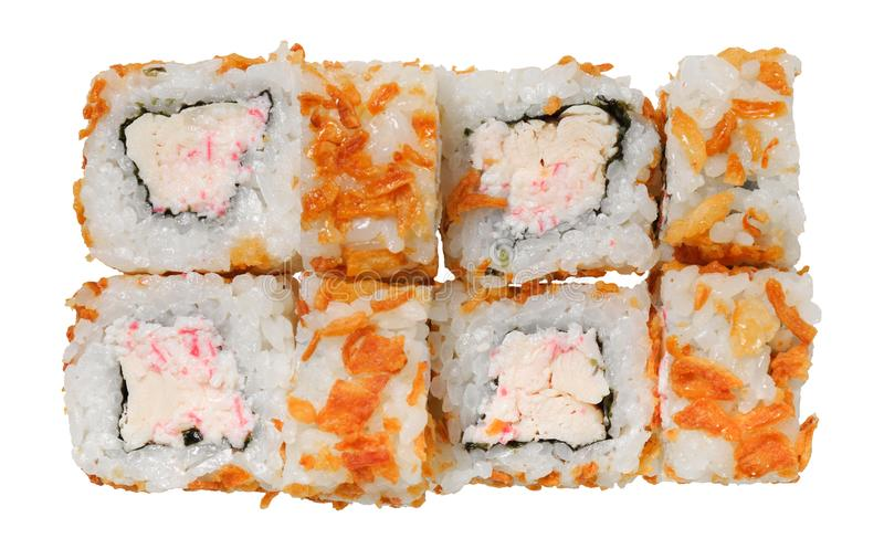 Sushi roll with crab, meat, chicken and breading. Isolated on white background. Asian dish royalty free stock photo