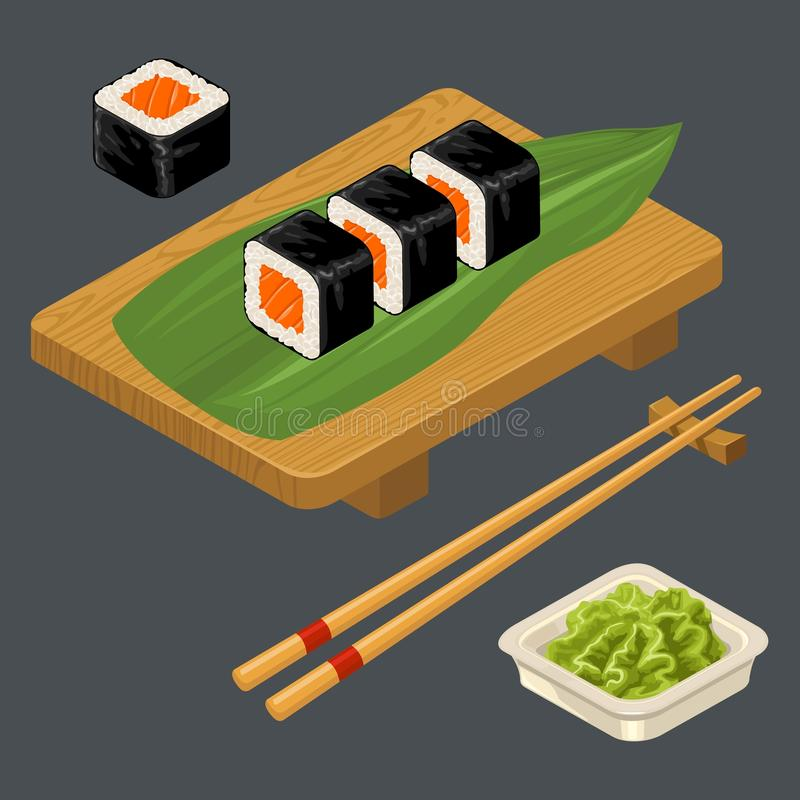 Sushi roll with fish, chopsticks, wasabi in bowl, wood board. stock illustration