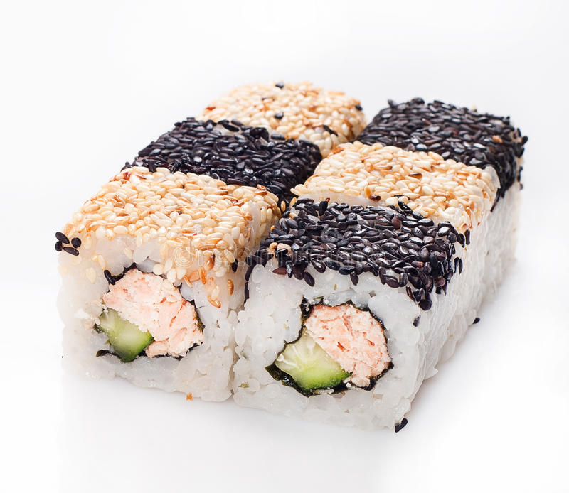 Download Sushi Roll With Fish And Cucumber In Sesame Stock Photo - Image: 27537262