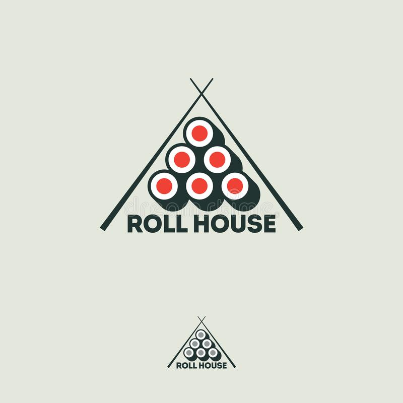 Sushi Roll House flat logo. Rolls and chopsticks on a white background. vector illustration