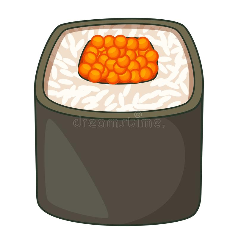 Sushi roll icon, cartoon style. Sushi roll icon. Cartoon illustration of sushi roll vector icon for web royalty free illustration