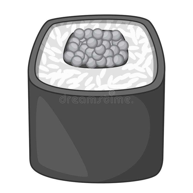 Sushi roll icon monochrome. Sushi roll icon in monochrome style isolated on white background vector illustration vector illustration
