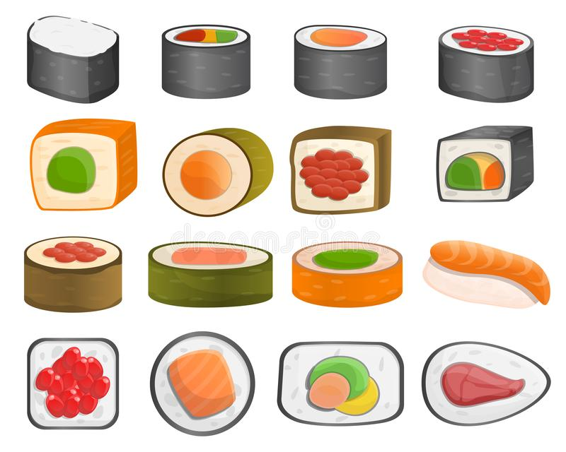 Sushi roll icon set, cartoon style stock illustration