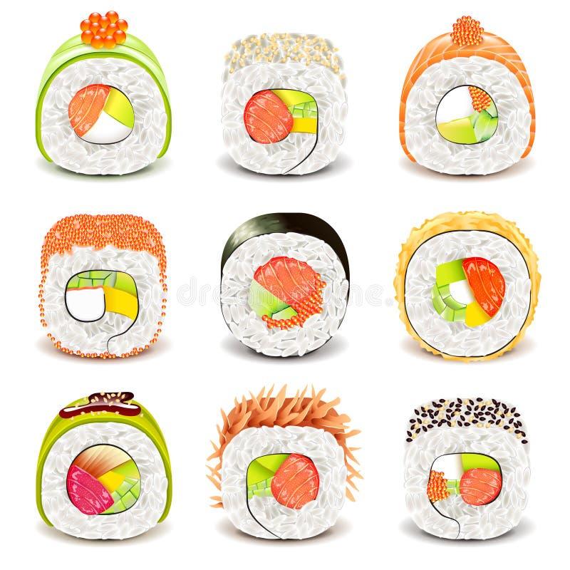 Sushi roll icons vector set stock illustration