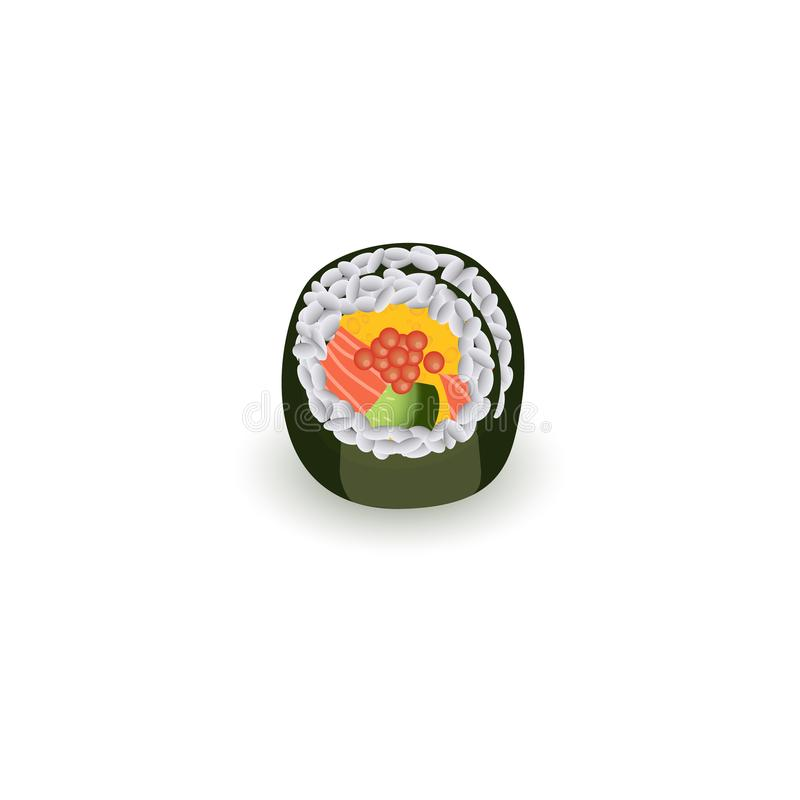 Sushi roll isolated on white background - realistic traditional japanese food. stock illustration