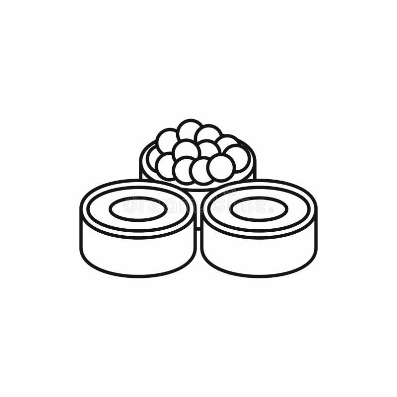 Sushi roll, japanese food icon, outline style. Sushi roll, japanese food icon in outline style isolated on white background vector illustration stock illustration