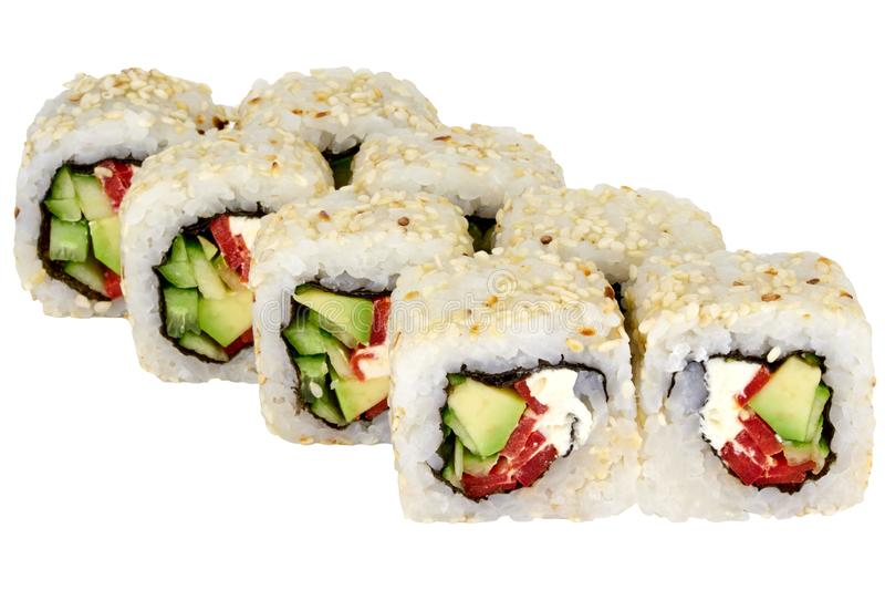 Sushi roll japanese food isolated on white background Philadelphia sushi roll with tuna and cucumber close-up royalty free stock image