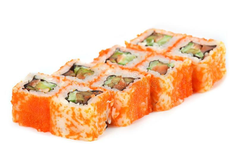 Sushi Roll - Maki Sushi California with Cucumber, Tamago, Salmon Roe, Tobiko and Cream Cheese inside, isolated on white background stock photos