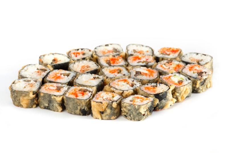 Sushi Roll - Maki Sushi pieces collection with Salmon Roe, Smoked Eel, Avocado, Crab Meat, Tobiko isolated on white background. Sushi Roll - Maki Sushi pieces royalty free stock images