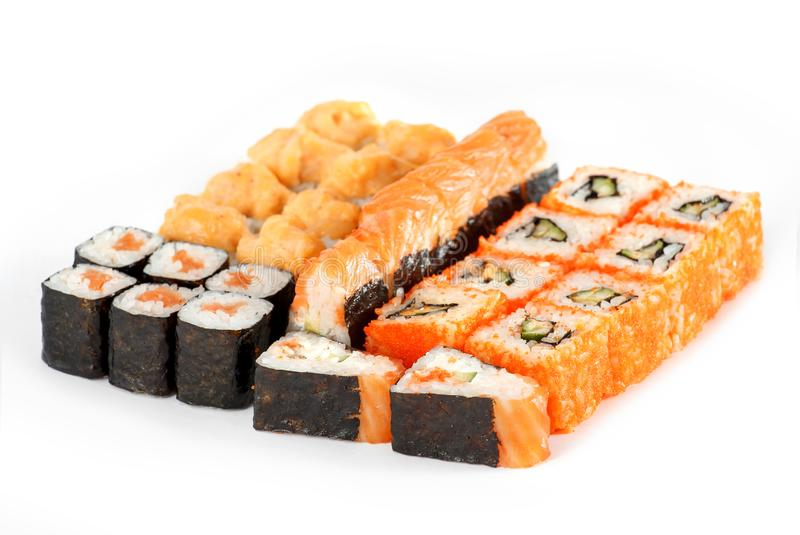 Sushi Roll - Maki Sushi pieces collection with Salmon Roe, Smoked Eel, Cream Cheese, Avocado, Tobiko isolated on white background. Sushi Roll - Maki Sushi pieces royalty free stock photo