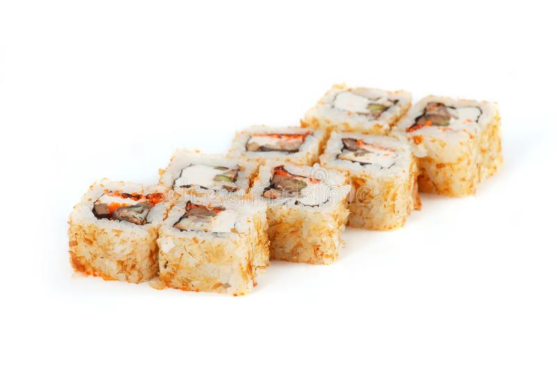 Sushi Roll - Maki Sushi with Salmon Roe, Smoked Eel, Cucumber, Cream Cheese in Chips Tuna isolated on white background. Sushi Roll - Maki Sushi with Salmon Roe royalty free stock photo