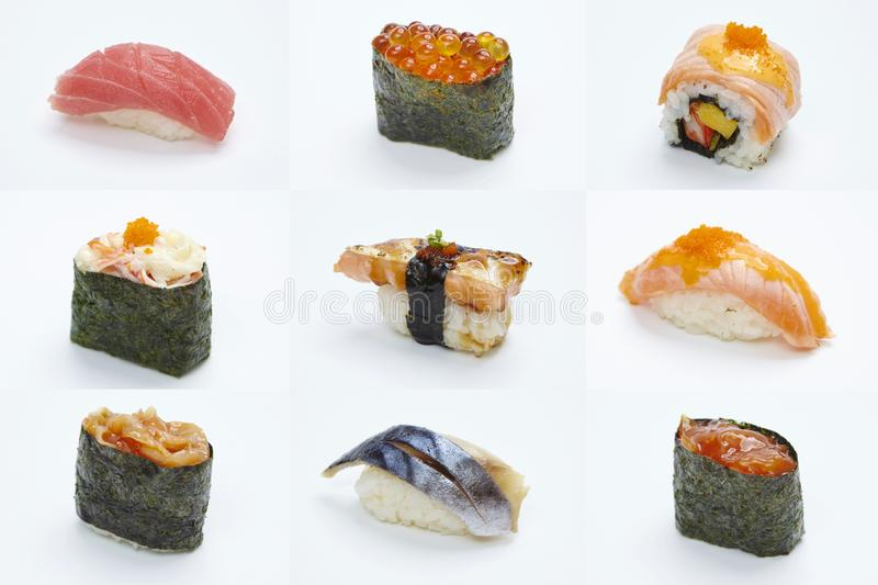 Maki Sushi pieces collection  on white background. Sushi Roll - Maki Sushi pieces collection  on white background royalty free stock image