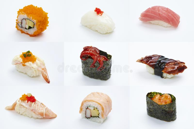Maki Sushi pieces collection  on white background. Sushi Roll - Maki Sushi pieces collection  on white background stock images