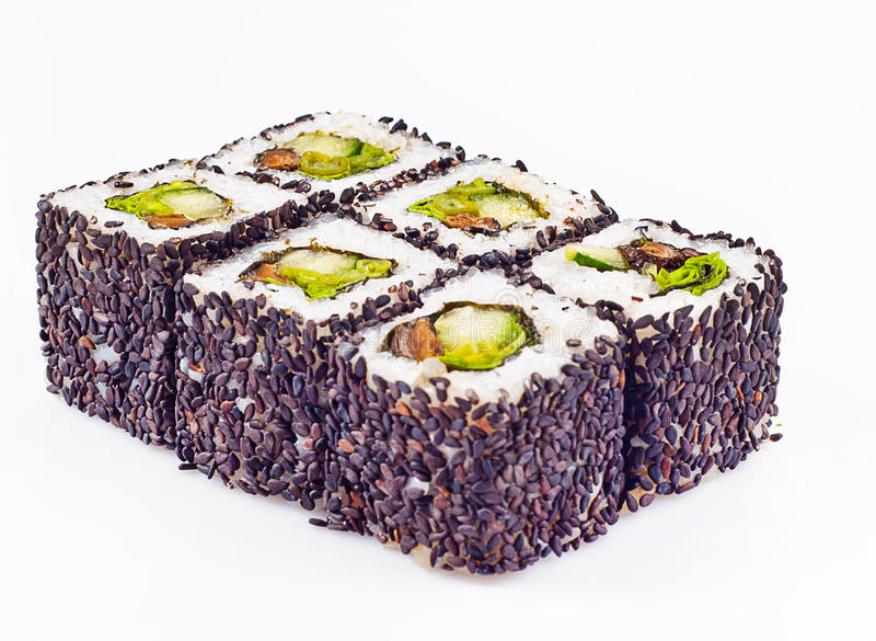Sushi roll with mushrooms