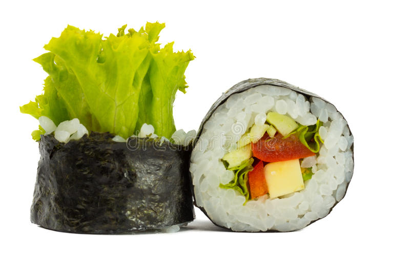 Sushi roll in nori with vegetables isolated on white background. Sushi roll in nori with vegetables and rice isolated on white background stock images
