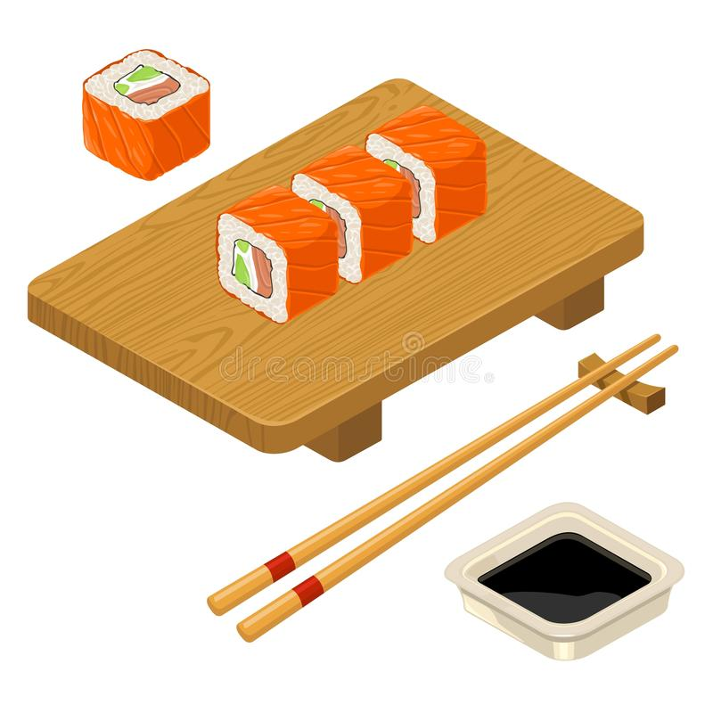 Sushi roll Philadelphia with fish, cream cheese, chopsticks, wood board. Sushi roll Philadelphia with fish, cream cheese, avocado, chopsticks, soy sauce in bowl vector illustration