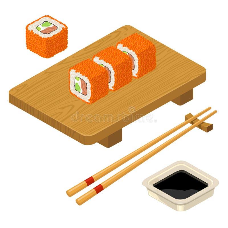 Sushi roll Philadelphia with fish, cream cheese, chopsticks, wood board. Sushi roll Philadelphia with fish, caviar, cream cheese, avocado, chopsticks, soy sauce vector illustration