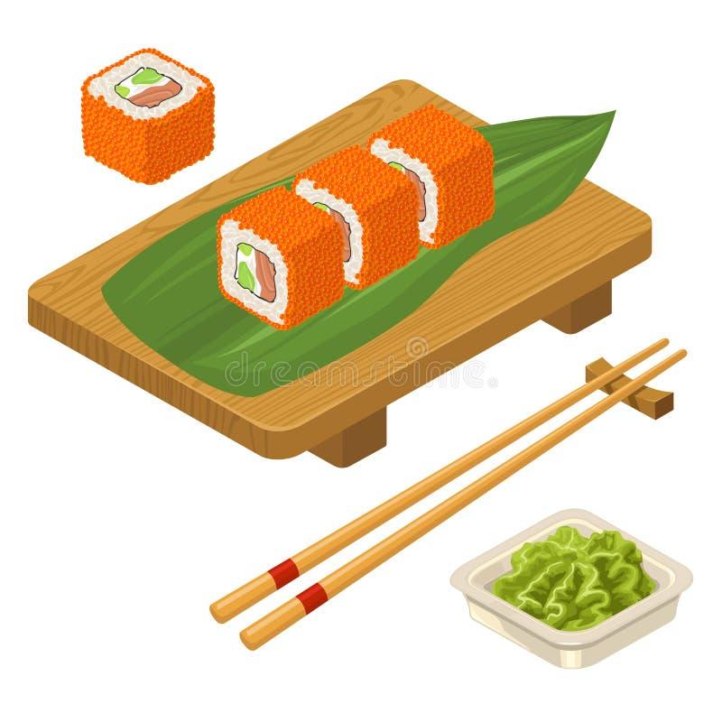 Sushi roll Philadelphia with wasabi, cream cheese, chopsticks, wood board. Sushi roll Philadelphia with fish, caviar, cream cheese, avocado, chopsticks, wasabi stock illustration