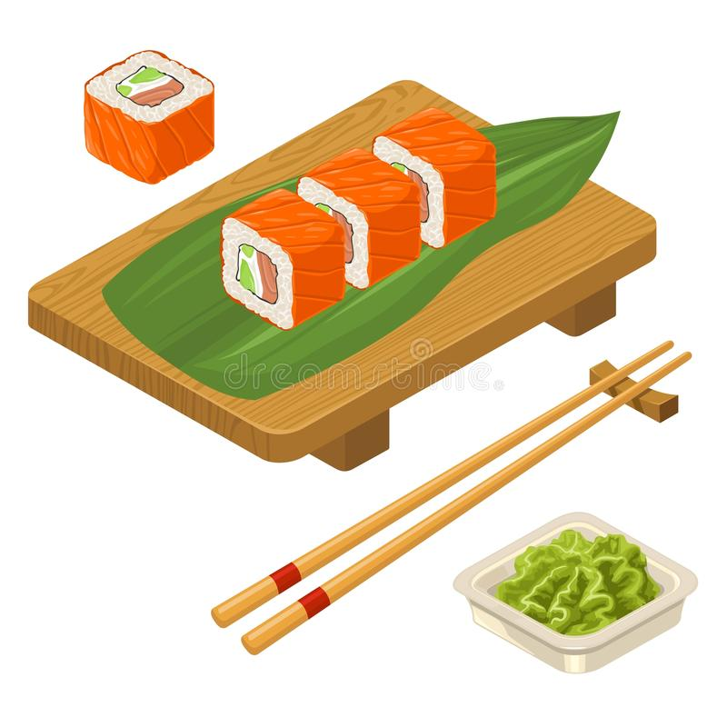 Sushi roll Philadelphia with wasabi, cream cheese, chopsticks, wood board. Sushi roll Philadelphia with fish, caviar, cream cheese, avocado, chopsticks, wasabi vector illustration