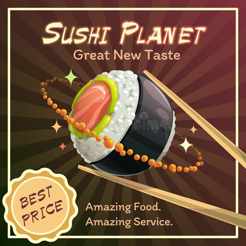 Sushi roll planet poster design. Japan food restaurant promotion concept. Vector space illustration stock illustration