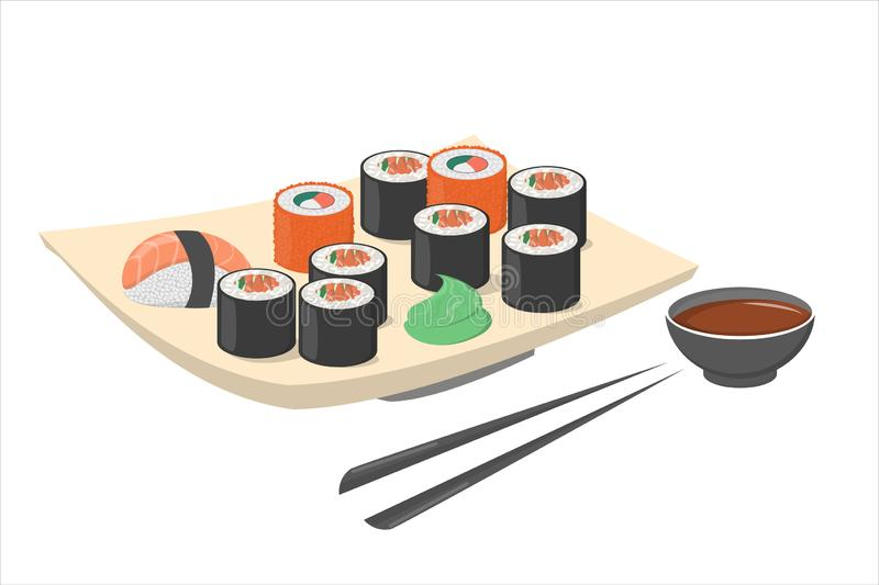 Sushi roll on the plate with wasabi and black chopstick. vector illustration