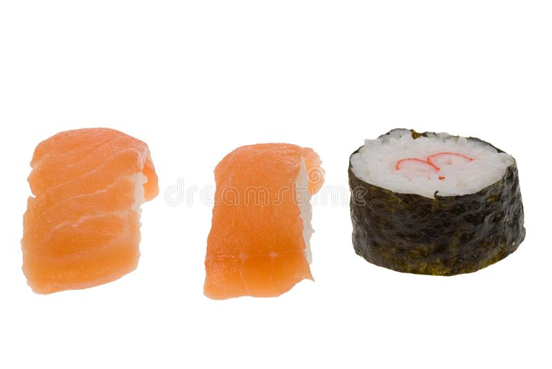 Sushi roll and salmon sushi royalty free stock photos