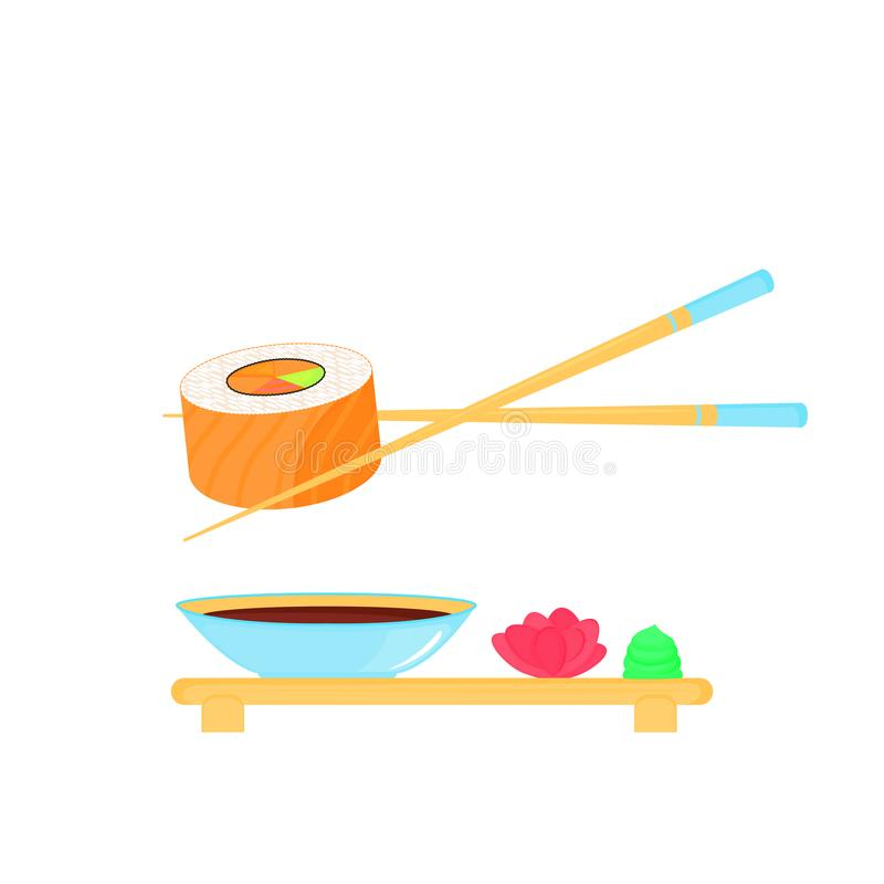 Sushi Roll with salmon. Traditional japanese food. Soy sauce, ginger, wasabi, chopsticks, plate stock illustration