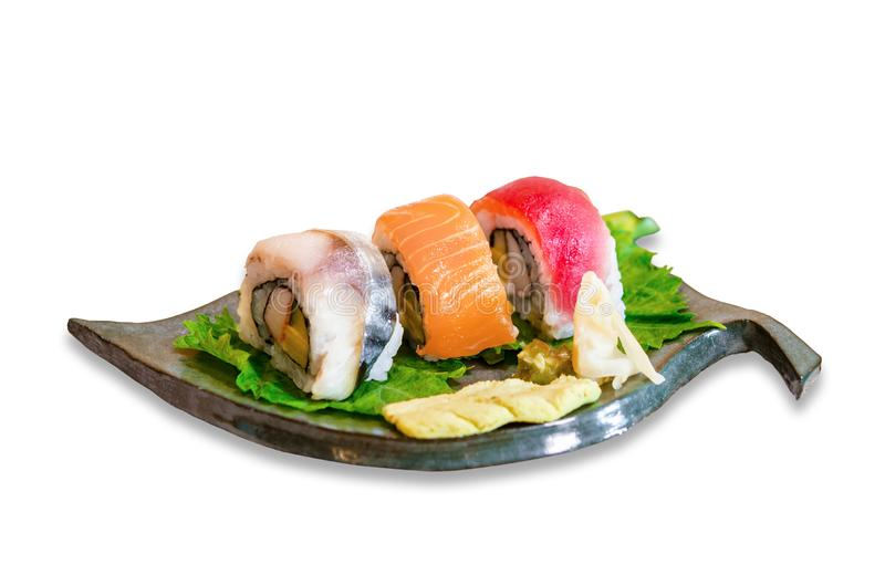 Sushi roll with salmon, Tuna on leaf dish royalty free stock photography