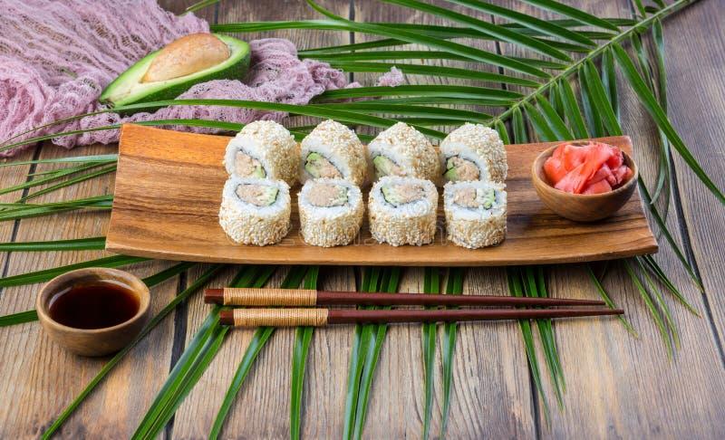 Sushi roll set with tuna stock photos
