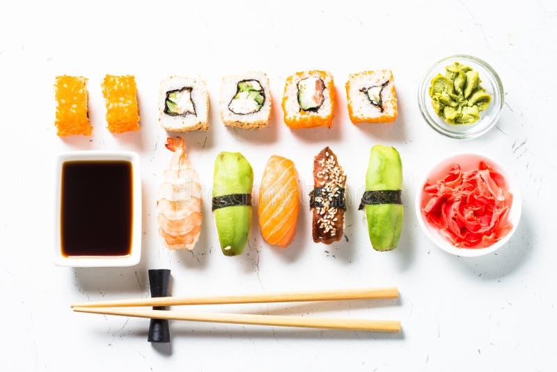 Sushi and sushi roll set on white background. royalty free stock images