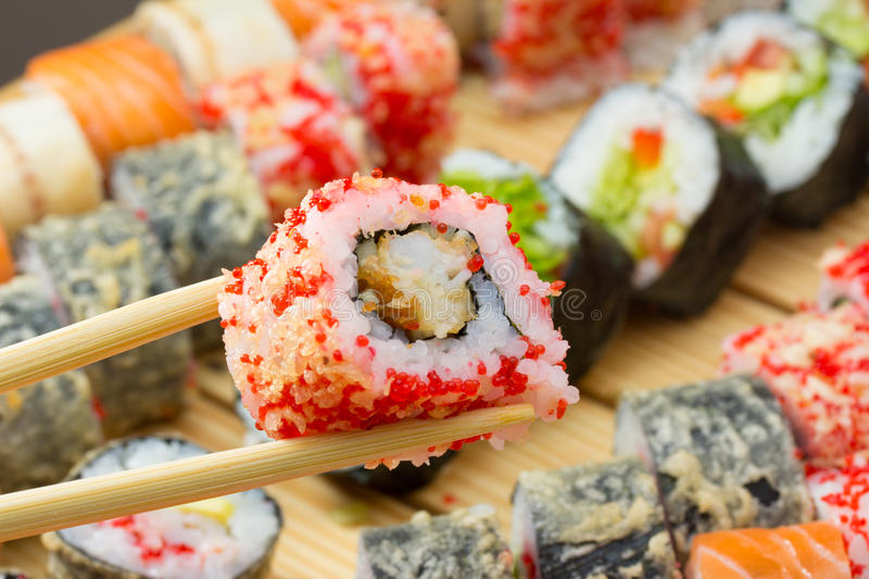 Download Sushi Roll In Tempura And Red Tobiko Stock Photo - Image: 34620402